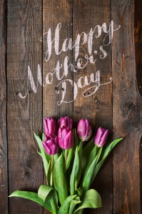 Pink, tulips bunch on dark barn wood planks background. Happy Mother's Day lettering. Vertical postcard template.